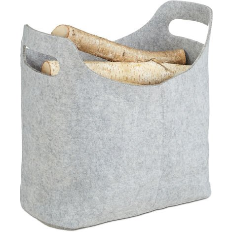 Panier à bûches de bois en feutre, HxlxP: 39,5 x 40 x 23 cm, 2 poignées, pliable, porte-revues, gris