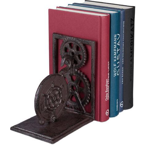 Serre-livres, Presse-livres fonte, Range-livres décoration vintage, roue dentée, HxlxP: 16x13x10 cm, brun