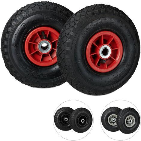 Roue de diable Set de 2 roues de brouette, roue de rechange axe,3.00-4 , caoutchouc 260x85 mm 80 kg, noir