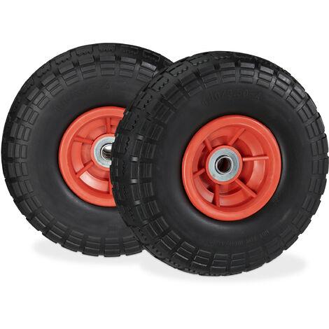 Roue de diable Set de 2 en caoutchouc 260x85, roue en caoutchouc,16 mm, 4.1/3.5-4 essieu 150 kg,noir/ rouge