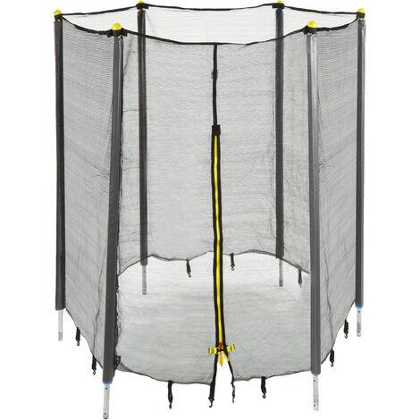 Filet de sécurité trampoline filet de protection trampoline rond barres accessoire 305 cm, noir