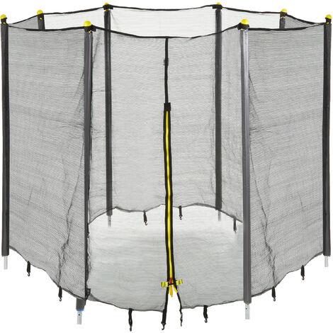 Filet de sécurité trampoline filet de protection trampoline rond barres accessoire 366 cm, noir