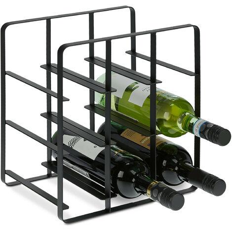 casier à bouteilles en métal, 9 bouteilles, support vin, HLP 30,5 x 27,5 x 20 cm, pour cuisine et salon, noir