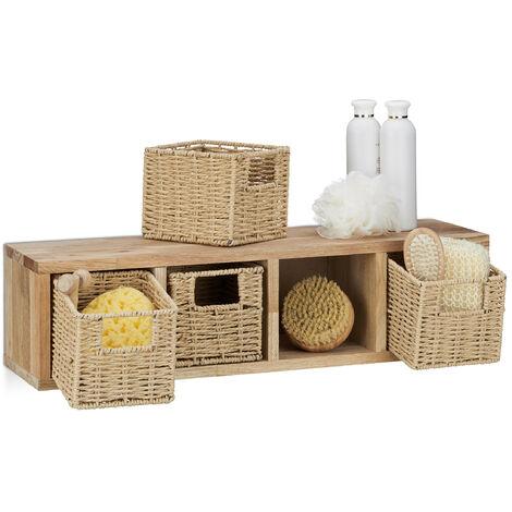 Etagere 4 cubes rangement panier amovible corbeille bois noyer couloir chambre cuisine montage mural, nature