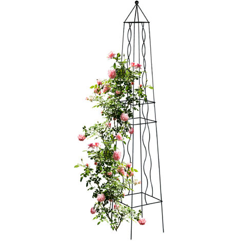 Tuteur carré, arche rosier, obélisque, support plantes grimpantes, treillis, vignes, acier, H : 182 cm, noir