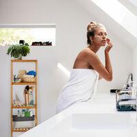 étagère de salle de bain en bambou, 5 compartiments ouverts HLP 140 x 34 x 33 cm, Naturel