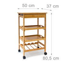 Desserte de cuisine JAMES L en bambou avec 4 roulettes tiroirs chariot rangement pour assiettes bouteilles vin HxlxP: 80,5 x 50 x 37 cm îlot avec 2 tablettes, nature
