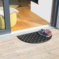 Paillasson 75x45 cm tapis de sol antidérapant caoutchouc grille demi-rond résistant pluie neige balcon terrasse jardin deli-lune, noir