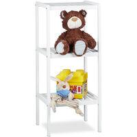 Étagère de salle de bain en bambou meuble sur pied cuisine en bois 3 étages HxlxP: 80 x 34,5 x 33 cm, blanc