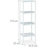 Étagère de salle de bain en bambou meuble sur pied cuisine en bois avec 4 niveaux HxlxP: 110 x 34,5 x 33 cm, blanc