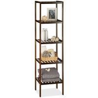 Etagère de salle de bain en bambou meuble de cuisine 5 niveaux HxlxP: 139,5 x 34,5 x 33 cm, brun foncé