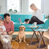 Table d'appoint ovale lot de 2 plateau en verre et pieds en bois design moderne 2 tailles, nature