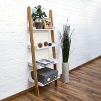 Étagère échelle escalier BAMBOO bambou 4 tablettes étages HxlxP 144 x 56 x 34 cm salle de bain chambre séjour couloir, blanc nature