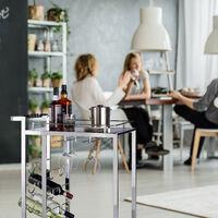 Desserte de cuisine verre BARON design noir étage pour 6 bouteilles de vin métal chariot 4 roues HxlxP: 75 x 40 x 70 cm, noir