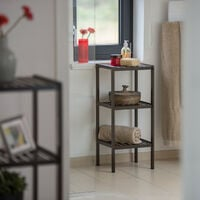 Étagère de salle de bain en bambou meuble sur pied cuisine en bois 3 étages HxlxP: 80 x 34,5 x 33 cm, marron