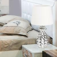 Lampe de table Ananas, lampe deco design lampe de chevet abat-jour tissu H x Ø: 47 x 25 cm, argent-blanc