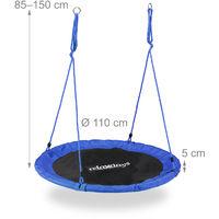 Balançoire nid d'oiseau rond 110 cm à suspendre enfant adulte jardin extérieur Ø 110 cm, 100 kg, bleu