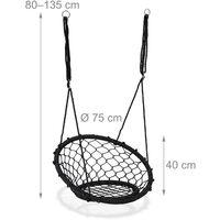 Balançoire suspendue nid d'oiseau Panier suspendu extérieur 150 kg dossier, Ø75cm, noir