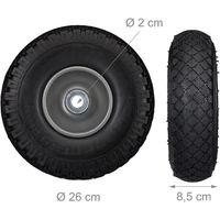 Roue de diable Set de 2 roue de brouette 20mm, roue complète axe, 3.00-4 essieu 100 kg, 260x85 mm, noir-gris