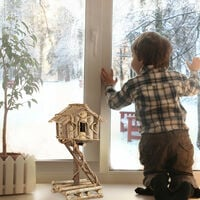 Nichoir à oiseaux décoration maison à oiseaux en bois sur pied à poser villa fait main, nature