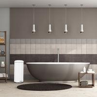 Poubelle à pédale 30 L inox seau intérieur anse couvercle salle de bain cuisine déchets, blanc
