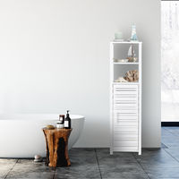 Etagère de salle de bain en bambou avec porte, Avec 6 compartiments, haut, HLP 119 x 33 x 25,5 cm, blanc