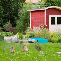 Enclos pour lapins avec toit, voile solaire, gros enclos pour l'extérieur, différentes Couleurs, galvanisé