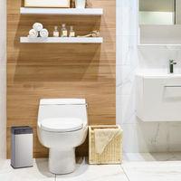 Poubelle cosmétiques, acier inoxydable, corbeille en métal pour la salle de bains, cuisine, 6 litres, argenté