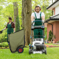Chariot pour feuilles mortes, Charrette de jardin, brouette, 2 roues, Sac pour feuilles de 160 litres, vert