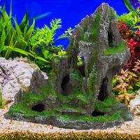 Aquarium, Formation rocheuse, grotte, Roche déco pour terrarium, 27 cm de haut, gris-vert