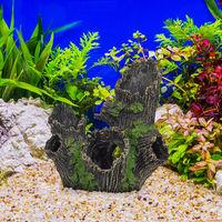 Déco d'aquarium, tronc d'arbre, apparence naturelle, cachette, accessoire terrarium, 16,5 x 15,5 x 11 cm, noir
