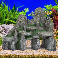 déco d'aquarium, Rocher avec grotte, Apparence naturelle, Roche déco pour terrarium, 21 cm de haut, gris-vert