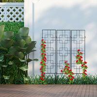 treillis de jardin, métal, lot de 3, à planter, tuteur pour plantes grimpantes, 122 x 30,5 cm, jardin, noir