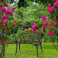 Banc de jardin, 2 sièges, roses, terrasse, de balcon, en aluminium et fonte, banc antique, HlP 78 x 99 x 52 cm