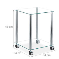 Table d'appoint avec roulettes, 2 supports, carrée, salon, verre er acier, table basse, transparente/argentée