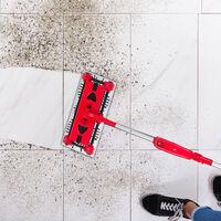 Aspirateur balai sans câble balai électrique sol tapis nettoyage carrelage 126 cm, rouge/argent