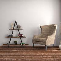 Etagère en échelle, vintage, 3 rangements, Plaques MDF, acier, marches, industrielle, 121,5x120x36 cm, marron