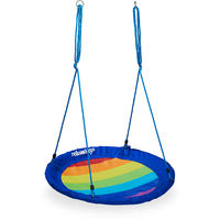Nid d'oiseau balançoire, rond, enfants & adultes, jardin, réglable, charge 100 kg max., Ø 100 cm, coloré