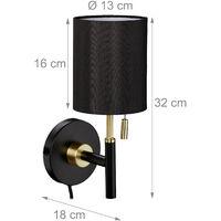 Lampe murale, abat jour rond, interrupteur à tirette, câble avec fiche, éclairage sur mur 32 x13 x18 cm, noir