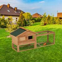 Clapier à lapins, pour extérieur, enclos, cage petits animaux, lapins, cochons d'inde 71x154x51,5cm, nature