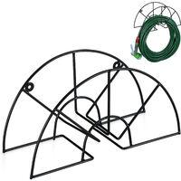 """Support tuyau d'arrosage, pour 45 m & 5/8"""", enrouleur, dévidoir, acier, montage mural, rond, jardin, noir"""