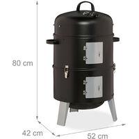 Fumoir 3 en 1, smoker, pour faire griller, faire fumer et macérer, thermomètre avec sortie d'air, BBQ.