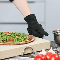 Gant anti-chaleur en fibres aramide taille universelle pour main gauche ou main droite sortir des plats du four barbecue pizza protection résistance haute température grill, noir