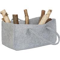 Panier à bûches de bois en feutre 2 poignées, pliable, porte-revues HxlxP: 25 x 25 x 50 cm, gris