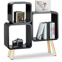 Système étagère 3 cubes bibliothèque bois MDF 4 pieds commode tablette HxlxP: 70x67x20 cm, noir
