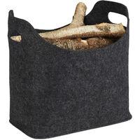 Panier à bûches de bois en feutre, HxlxP: 39,5 x 40 x 23 cm, 2 poignées, pliable, porte-revues, anthracite