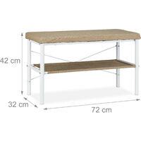 Banc à chaussures avec banquette rembourrée, rangement couloir, design, HxLxP 42 x 72 x 32 cm, blanc/beige
