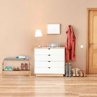 Banc chaussures, surface rembourrée, entrée, garde robe, chambre à coucher, rangement HlP 46x69x30 cm, nature