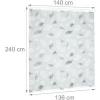 Store de baignoire, 140 x 240 cm, rideau de douche avec chaine, montage flexible, salle de bain, noir-blanc