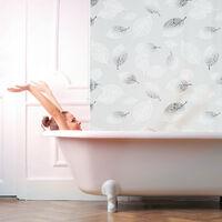 Store de baignoire, 100 x 240 cm, rideau de douche avec chaine, montage flexible, salle de bain, noir-blanc